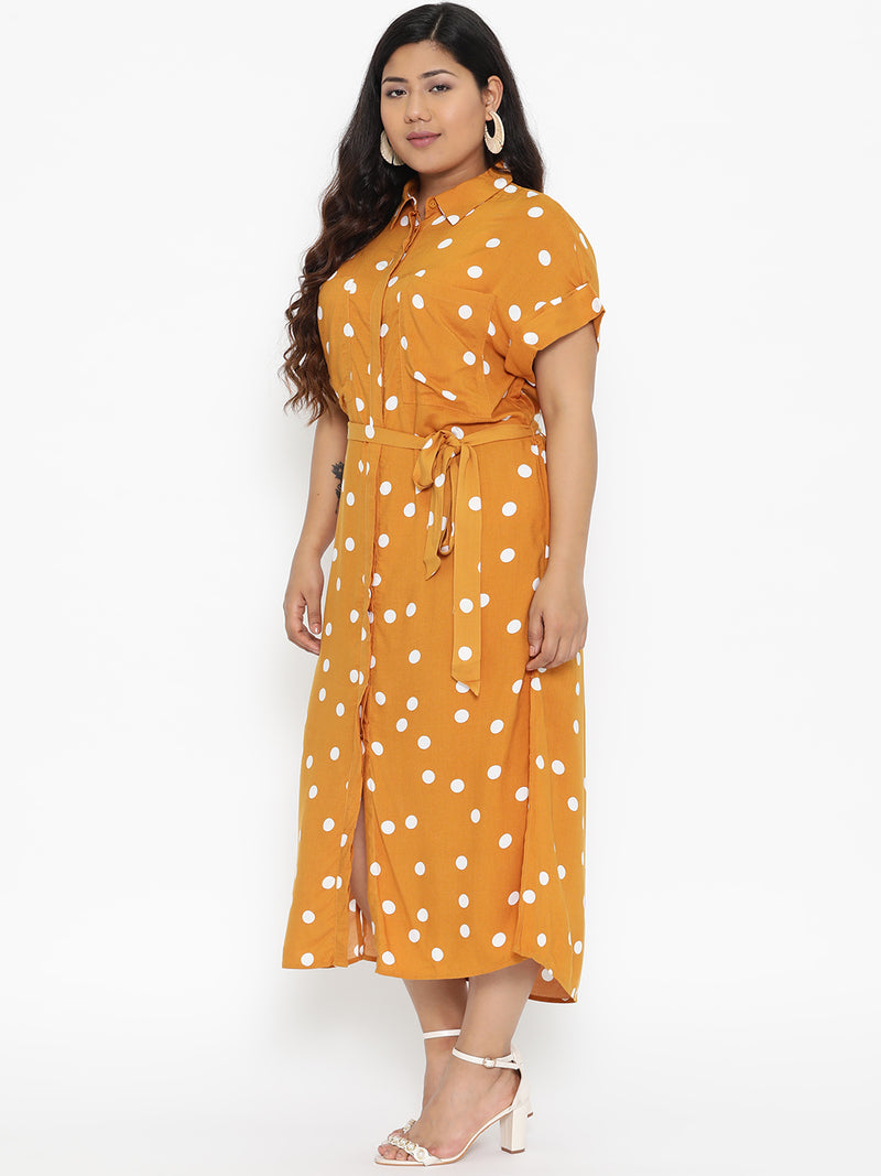 Mustard polka dot long dress