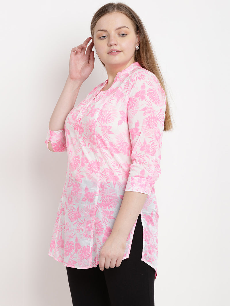 White and Pink Floral Cotton Tunic