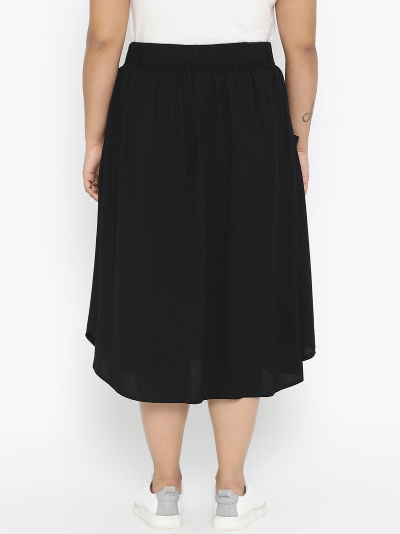 Black A Line Skirt with Buttons