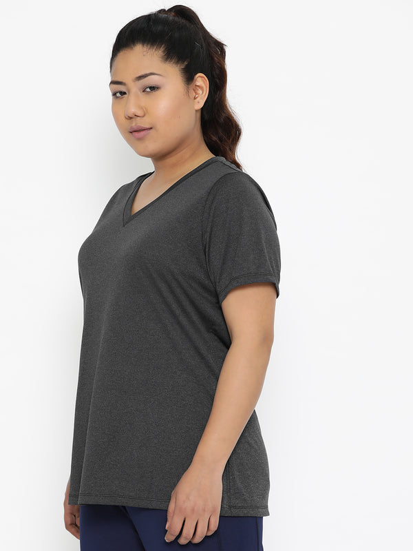 The Pink Moon Plus Size Grey V Neck Sports T Shirt | Active Wear T-Shirt in Grey | Sizes XL to 6XL