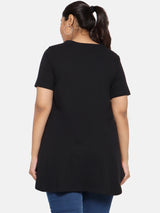 Hip length black jersey t shirt
