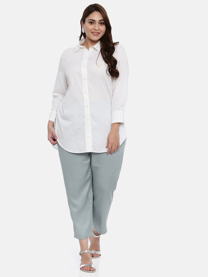 The Pink Moon Plus Size Cotton Off-White Button Down Shirt | Button Down White Shirt With Full Sleeves | Sizes L to 3XL