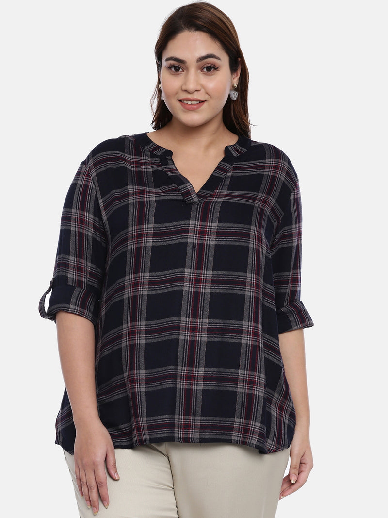 Navy Checked top with Lurex