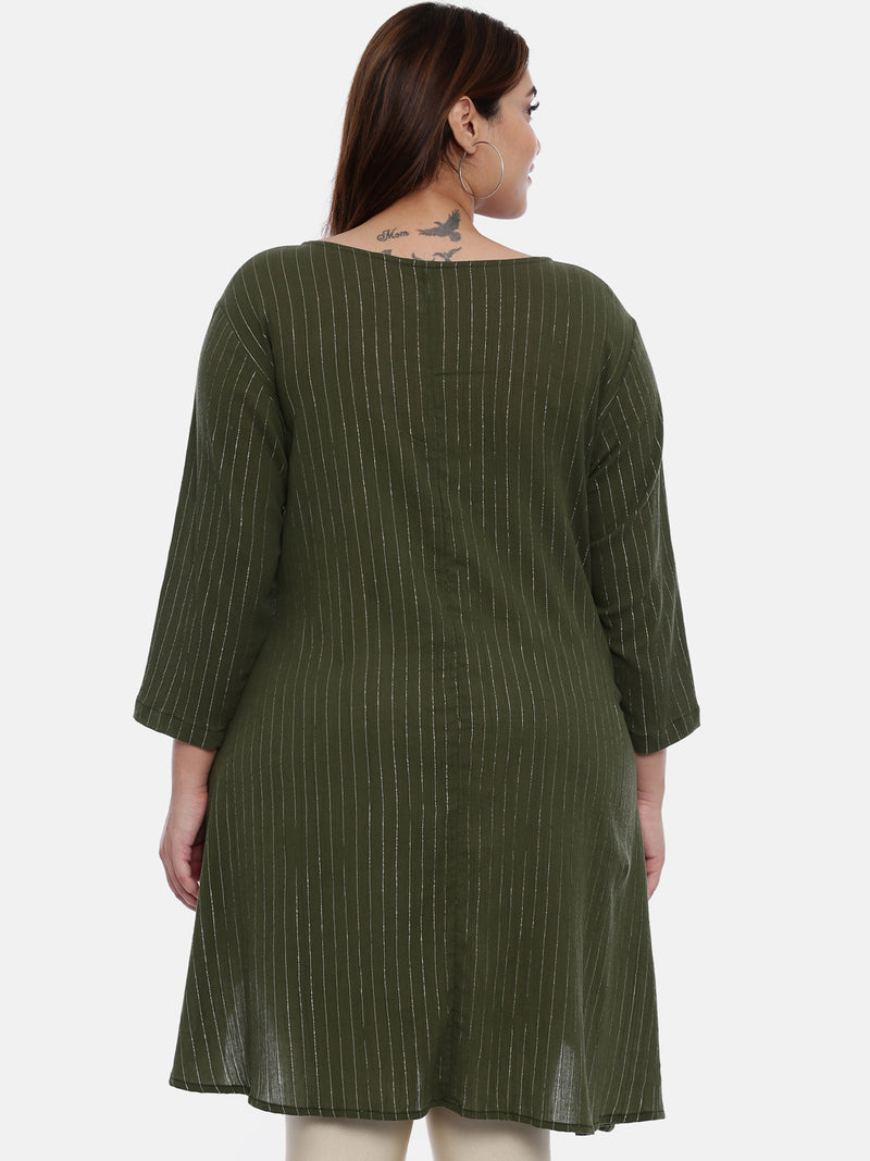 The Pink Moon Plus Size Olive Green Lurex Tunic | Asymmetrical Tunic in Green with Gold Stripes