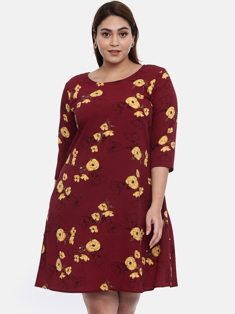 The Pink Moon Plus Size Maroon And Yellow Floral Dress | Knee Length Dress in Maroon and Yellow | Size – XL to 6XL