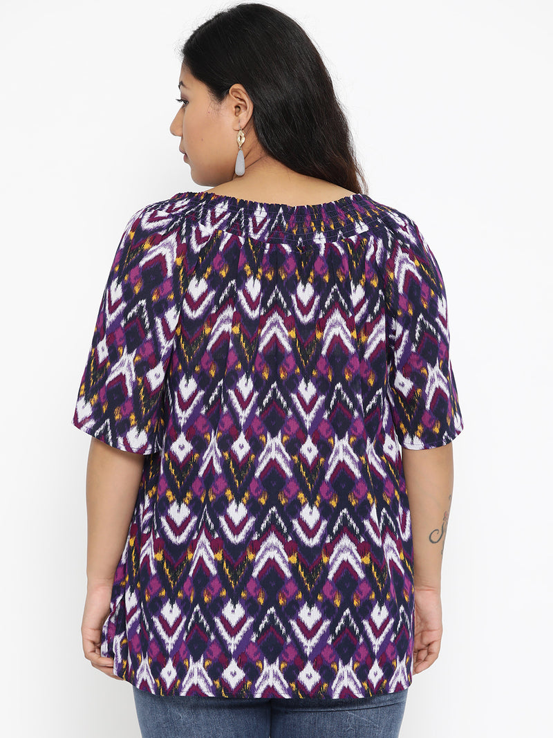 The Pink Moon Plus Size Purple Geometric Print Top | Formal Blouse in American Crepe with Black Detailing | Sizes XL to 6XL