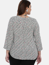 Women White Printed A-Line Top