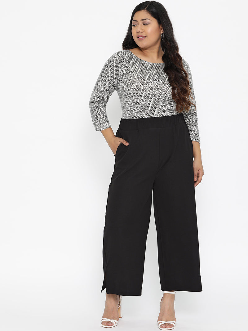 The Pink Moon Plus Size Black Stretchable Palazzo With Elastic Waistband | Stretchable Black Palazzo For Casual and Semi Formal Wear | Sizes 2XL to 6XL