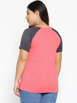 Pink and grey workout t shirt