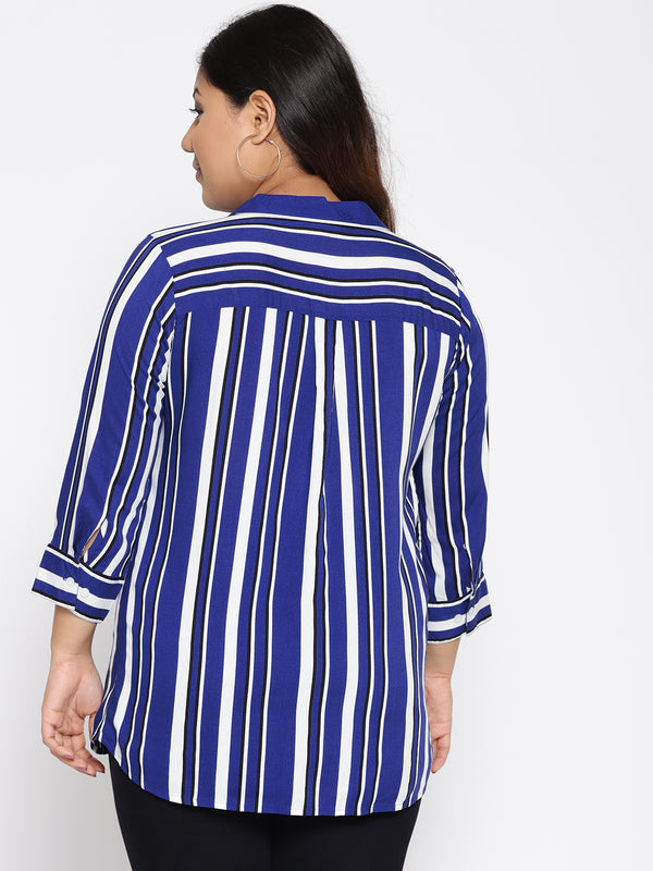 Navy and white thick stripe shirt