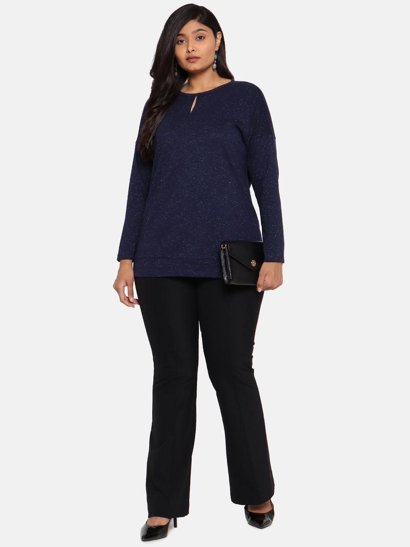 Navy full sleeves top with lurex