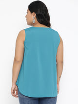 Aqua Blue Sleeveless A Line top