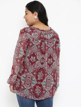 The Pink Moon Plus Size Maroon Floral Printed Top | Burgundy Casual Top With Green Print | Sizes XL to 6XL