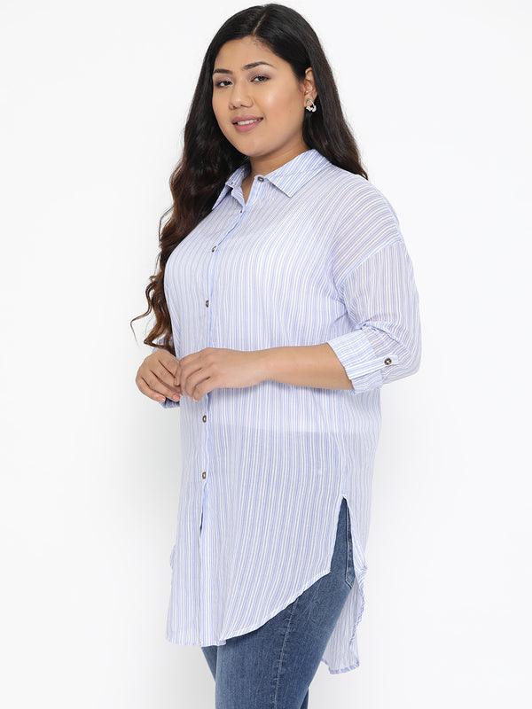 Cotton Blue and white stripe button down shirt