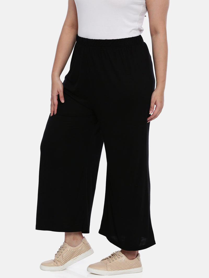 The Pink Moon Plus Size Black Stretch Lounge Pants | Straight Easy Fit Pants for Casual Wear