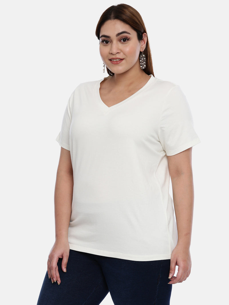 The Pink Moon Plus Size Plus Size White T Shirt | Solid White Plain T Shirt for Casual Wear | Sizes XL to 6XL