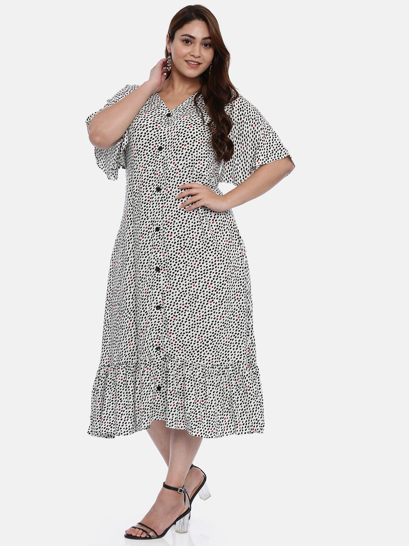 The Pink Moon Plus Size White Maxi Dress With Polka Dots | White Long Dress With Black and Red Polka Dots