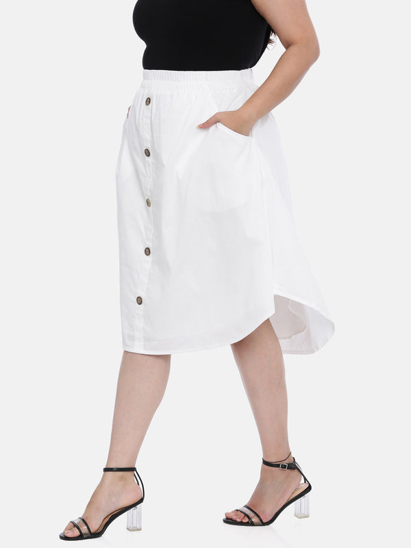 The Pink Moon Plus Size White Cotton Skirt | Classy White Cotton Skirt For Casual Wear