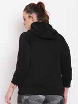 Plus Size Women Black Solid Sporty Jacket