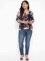 The Pink Moon Plus Size Paisley Printed Top | Paisley Printed Top In Black | Sizes XL to 6XL