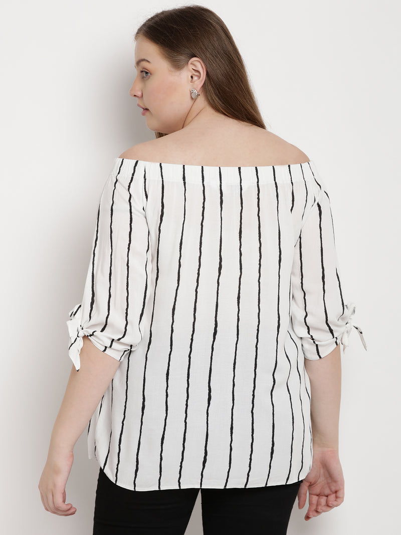 Off shoulder white striped top