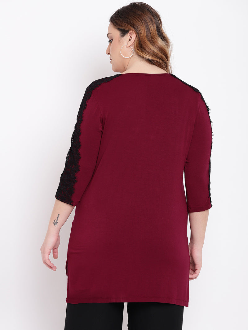 Burgundy black colour block t shirt with lace detail