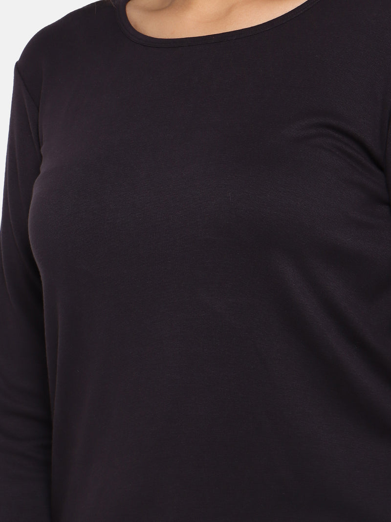 Navy black high stretch ponte full sleeves top