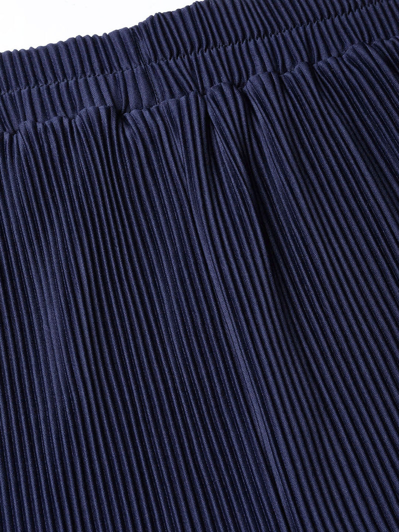 The Pink Moon Plus Size Navy Pleated Palazzo| Elastic waisted Palazzo in Navy Blue | Sizes 2XL to 6XL