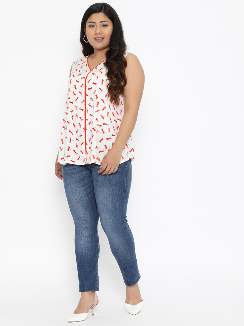 Dragonfly print sleeveless top