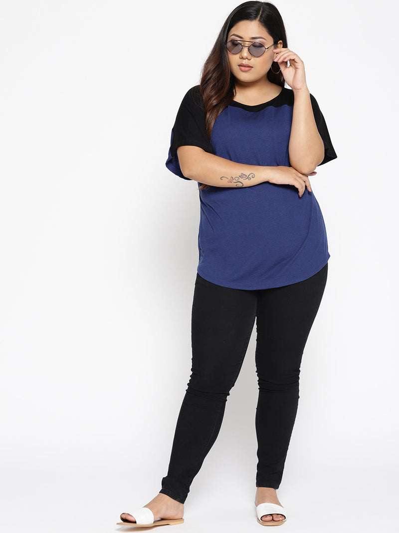 The Pink Moon Plus Size Blue And Black Colorblock Drop Shoulder T Shirt | Drop Shoulder T-Shirt in Blue and Black | Sizes L to 6XL