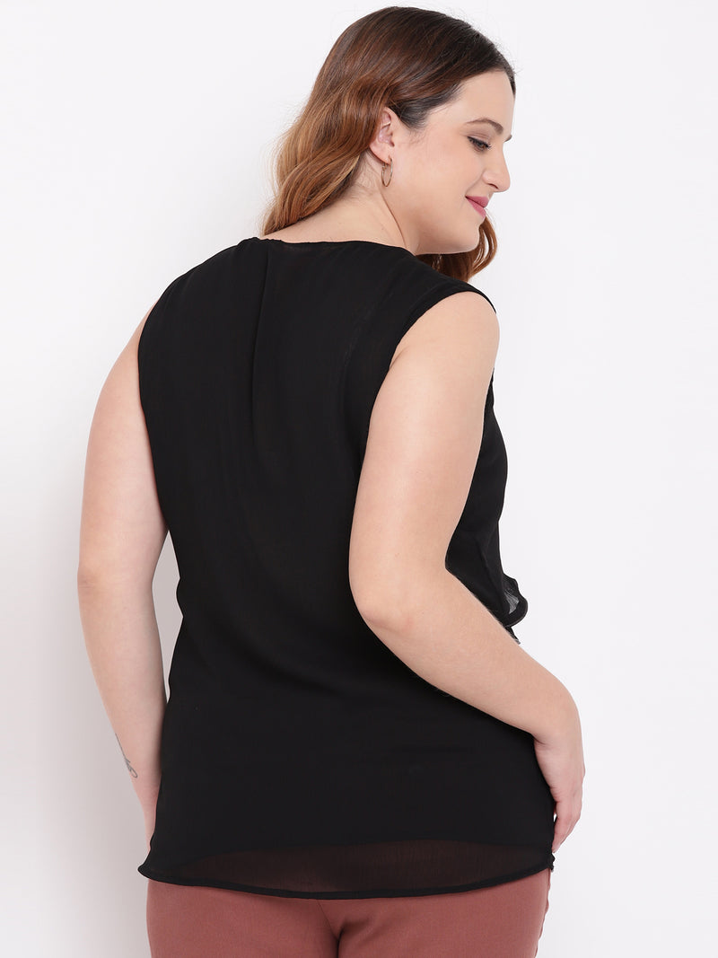 Plus Size Women Black Layered Solid Top