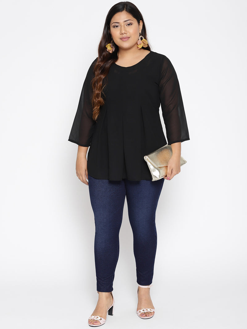Box pleat black top