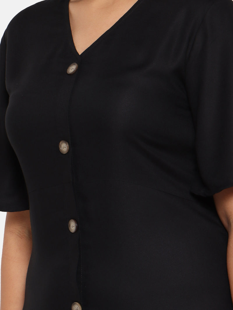 The Pink Moon Plus Size Black Maxi Dress With Horn buttons