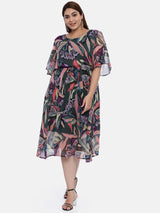 The Pink Moon Plus Size Green Chiffon Maxi Dress | Chiffon Long Dress With Abstract Floral Print | Size – XL to 6XL