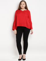 Red Solid High-Low Top