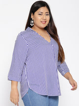 Blue and white stripe shirt with collar