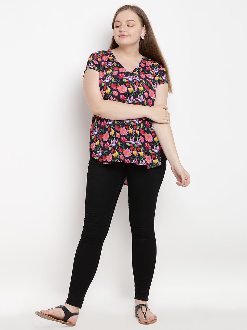 Black floral printed v-neck top