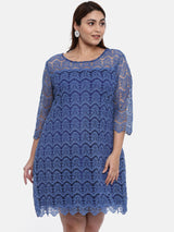 The Pink Moon Plus Size Blue Lace Party Dress