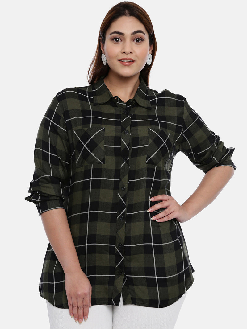 The Pink Moon Plus Size Green And Black Check Shirt | Check Shirt in Green and Black with White Stripes | Size – XL to 6XL
