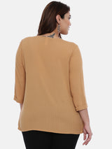 The Pink Moon Plus Size Beige Dobby Top | Beige Top With Pleats | Size - XL to 6XL
