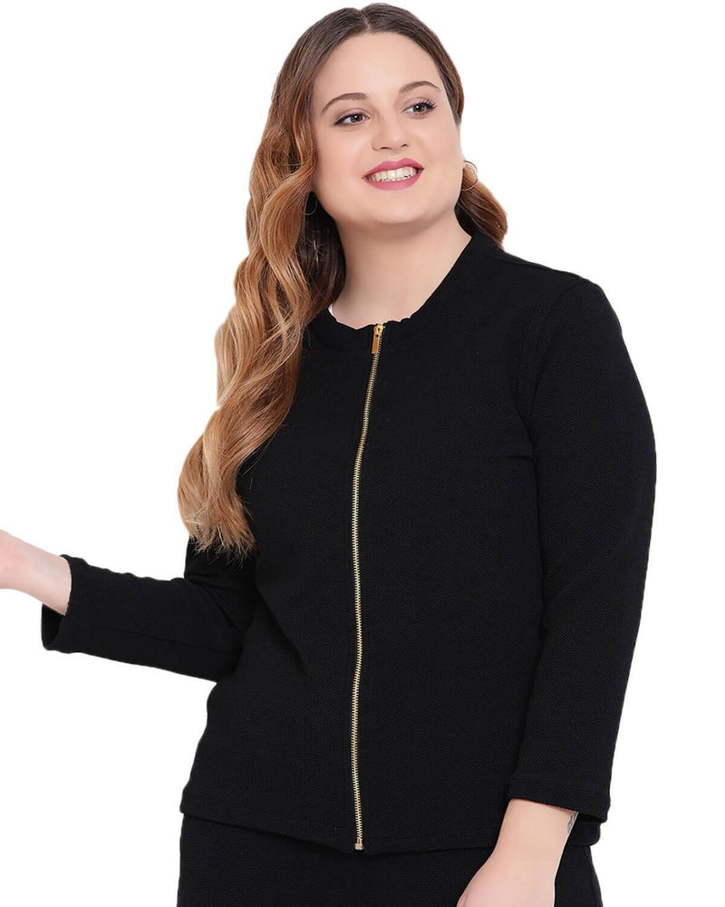 Embosed fabric front zip jacket