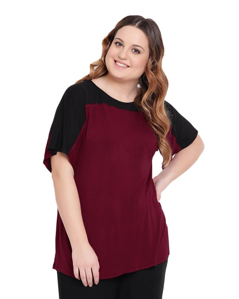 Black and Maroon Color Black Half Sleeve T Shirt