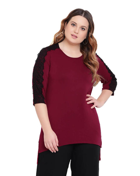 Maroon colored Lace top