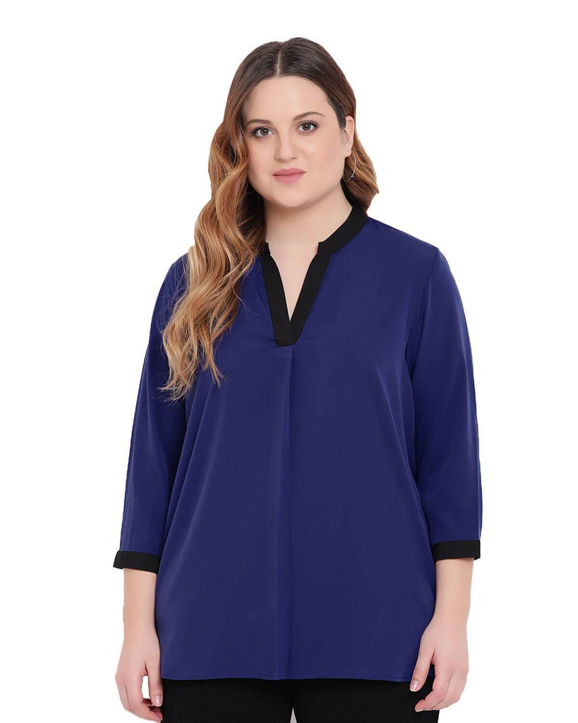 Navy formal Blouse with Black trimming