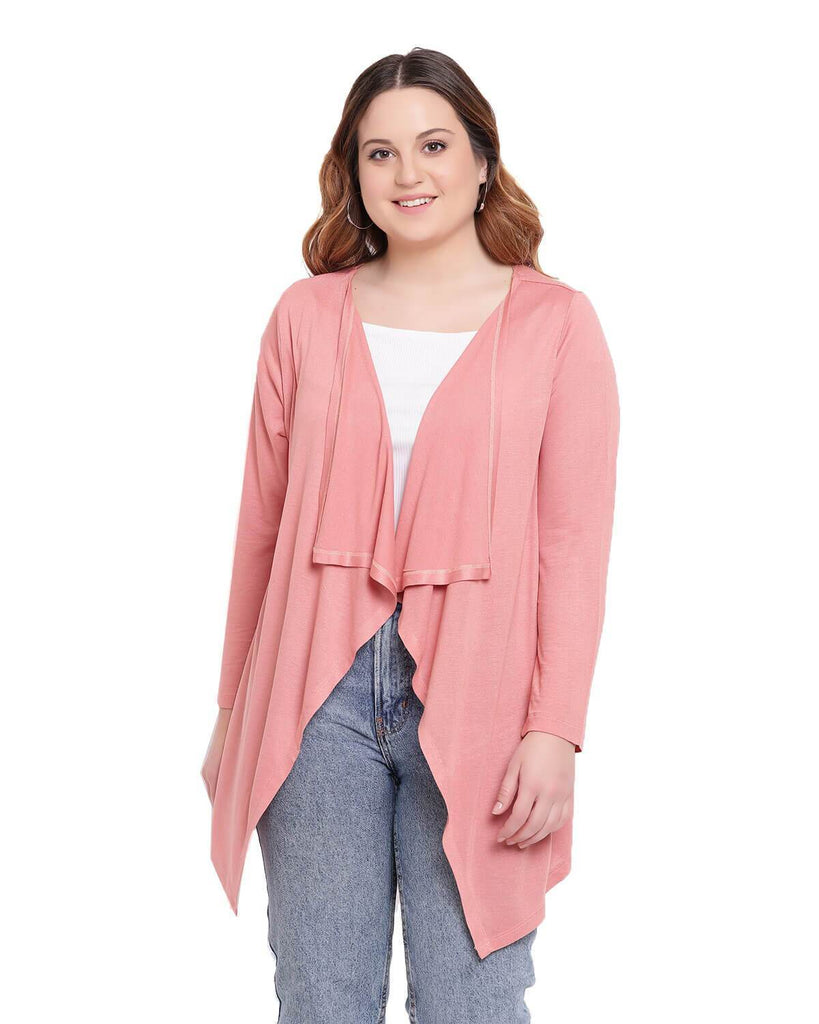 Long coral pink Waterfall shrug