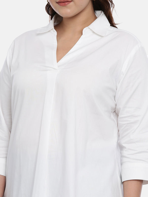 The Pink Moon Plus Size Oxford Cotton White Shirt | Formal White Shirt | Sizes XL to 6XL
