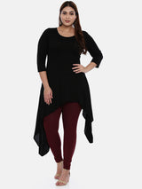 The Pink Moon Plus Size Black Stretch Long Kurta | Casual Black Kurta With Asymmetrical Cut | Sizes XL to 6XL