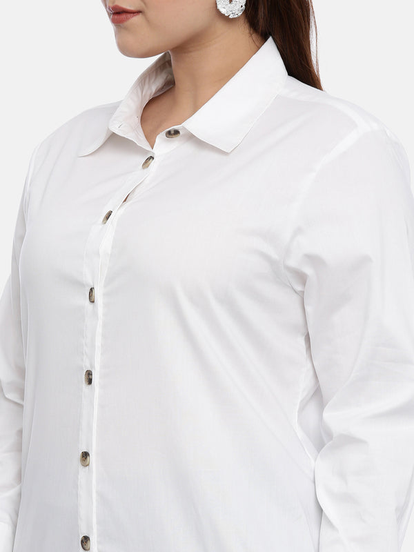Cotton button down white shirt