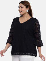 The Pink Moon Plus Size Navy Lace Top With Lining | Navy Blue Top in Lace with Lining | Sizes XL to 6XL