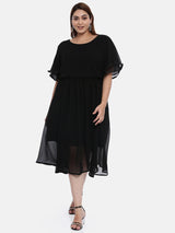 The Pink Moon Plus Size Solid Black Maxi Dress | Black Dress in Chiffon Party Wear | Size – XL